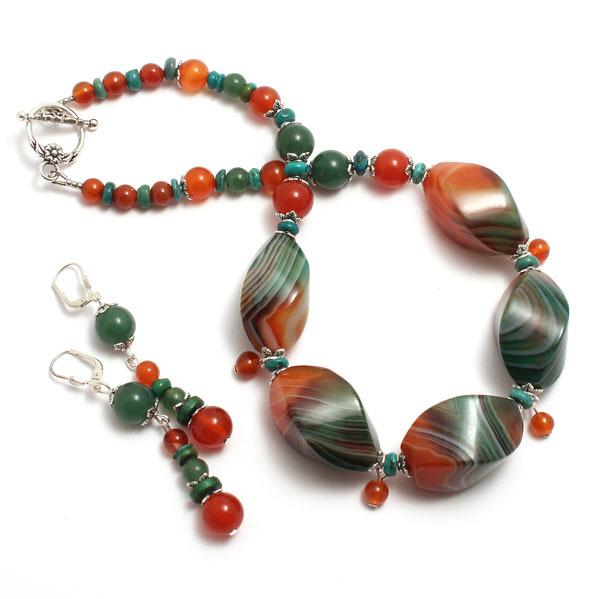 браслет серьги длинные бусы ожерелье натуральный агат сердолик камни авторские украшения