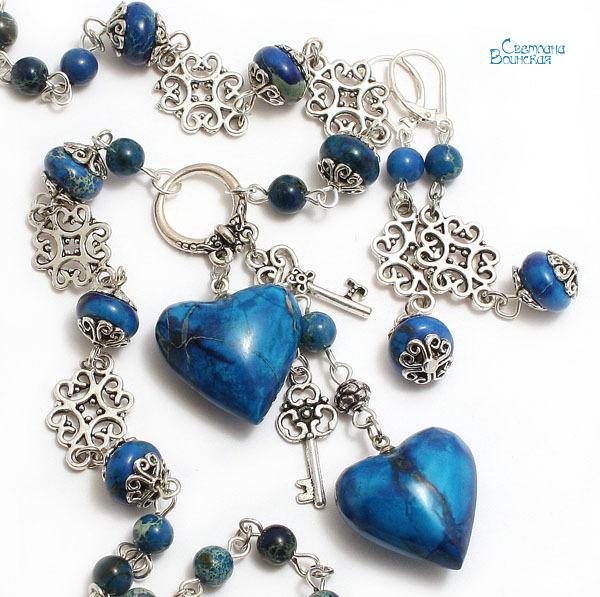 браслет серьги длинные бусы ожерелье натуральный варисцит яшма камни авторские украшения