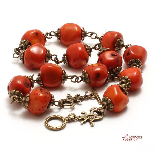 браслет серьги длинные бусы ожерелье натуральный коралл камни авторские украшения