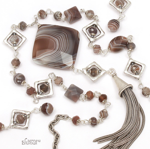 браслет серьги длинные бусы ожерелье натуральный серый агат ботсвана камни авторские украшения