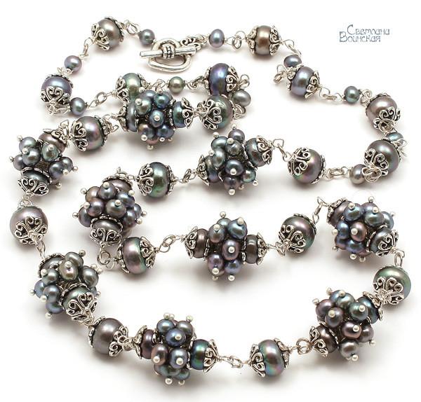 браслет серьги длинные бусы ожерелье натуральный серый жемчуг зима камни авторские украшения