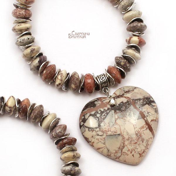 браслет серьги длинные бусы ожерелье натуральный яшма сердце подвеска камни авторские украшения