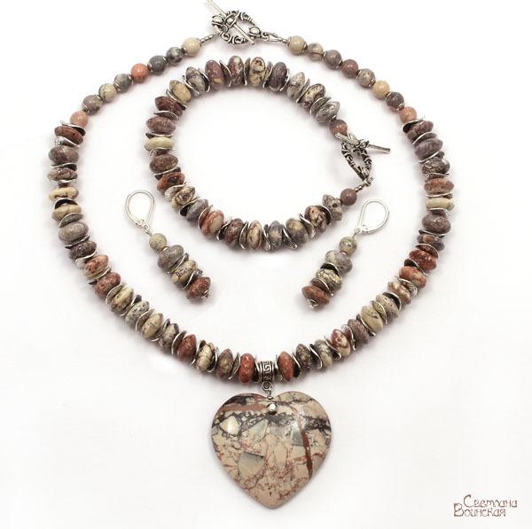 браслет серьги длинные бусы ожерелье натуральный яшма подвеска сердце камни авторские украшения