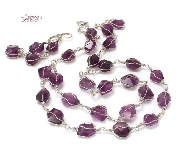 браслет серьги длинные бусы ожерелье натуральный аметист камни авторские украшения