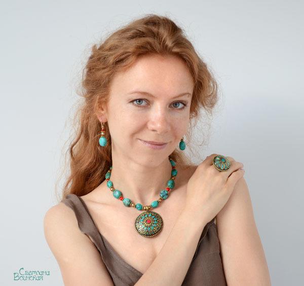 браслет серьги длинные бусы ожерелье натуральный бирюза камни авторские украшения перстень