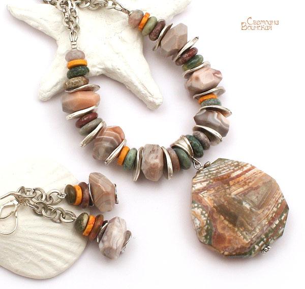 браслет серьги длинные бусы ожерелье натуральный агат  камни авторские украшения