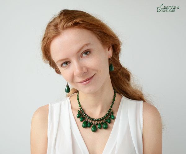 браслет серьги длинные бусы ожерелье натуральный зеленый кварц камни авторские украшения