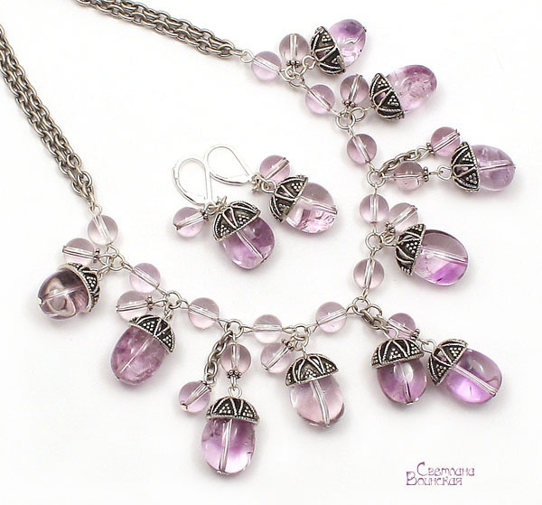 браслет серьги длинные бусы ожерелье натуральный аметист серебро камни авторские украшения