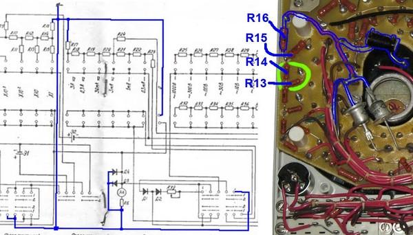 Скорее всего это будут R13 и R14.  Перечень элементов для ТЛ-4М легко найти в сети.  R13 - 82 Ом =1% (может быть...