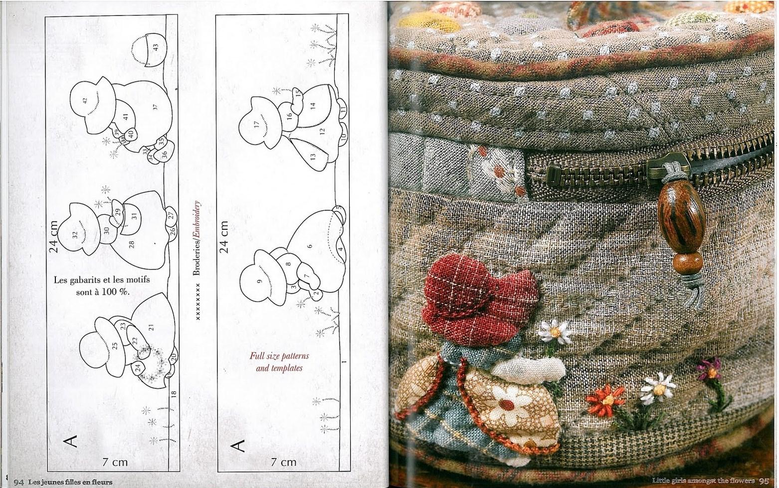Японские аппликации из ткани схемы