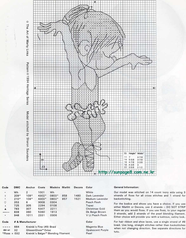 Схемы балерин вышивок крестом 696