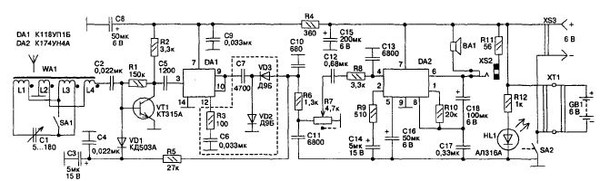 Рис. 3.13.  Схема приемника прямого усиления с АРУ на микросхемах.