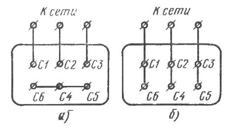 Рис.6. Схемы соединения обмоток статора электродвигателя: а- звезду, 6- треугольник.