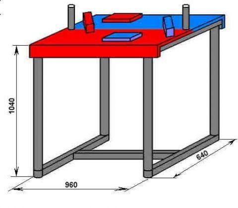 типовой стол для армрестлинга.