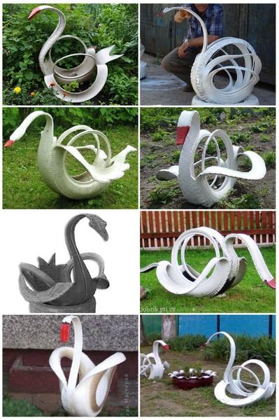 схема лебедя из шины