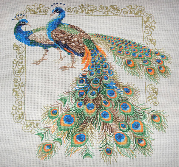 Peacocks - cross stitch kit, manufactured by RIOLIS.  Stitches - 214x239.  Includes 16 colors of floss anchor floss.